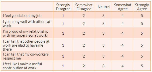 A six-item Likert scale for measuring employment self-esteem