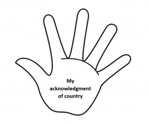 Hand with the words my acknowledgment of country written on palm