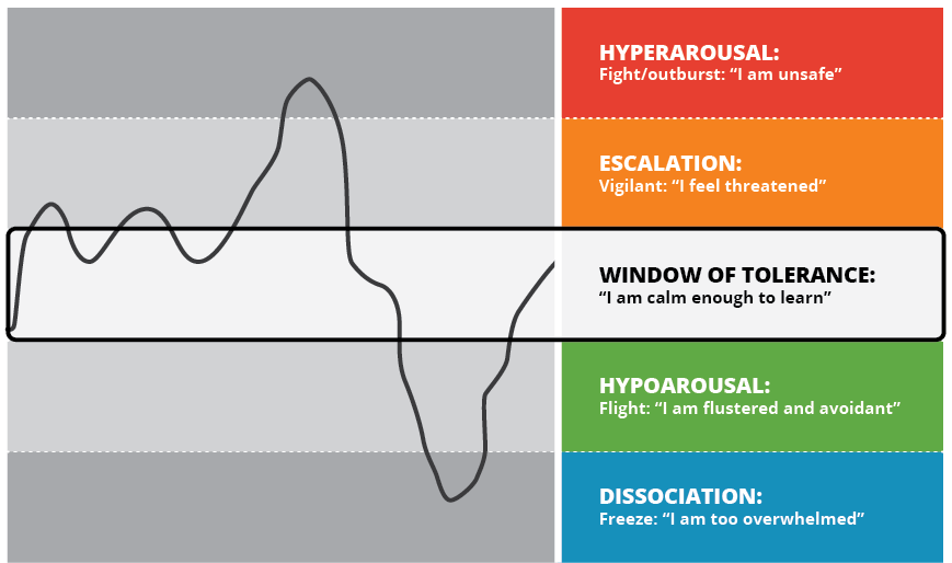 """Window of tolerance diagrams with the words """"I am calm enough to learn"""" highlighted"""