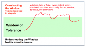 Window of toerlance diagram with line in the overshooting window part with words such as defensive, self-destructuve, fight or flight, impulsive ect