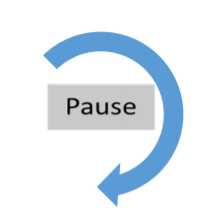 The word pause in a box surrounded by blue arrow