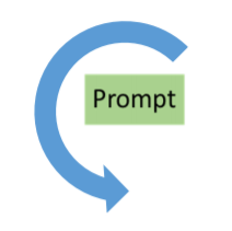 The word prompt in a box surrounded by blue arrow
