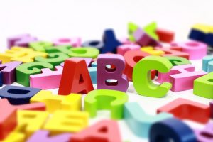 alpphabet letters with ABC standing out