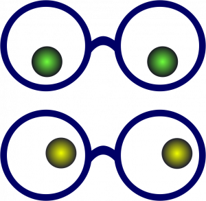 Two pairs of eyes with glasses