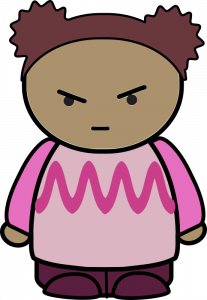 Cartoon character of angry girl