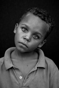 Black and white face portrait of child