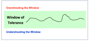 Diagram of window of tolerance with line in middle. Above the line it stays overshooting the widnow and below the line its says undershooting the windiw