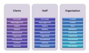 Diagram with three coloumns - client, staff and organisation and a list of their feelings