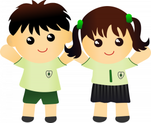 Two kids - a boy and girl - in school uniform
