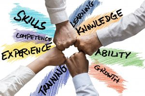 Hands in middle surounded by words such as skills, training, experience growth, larning