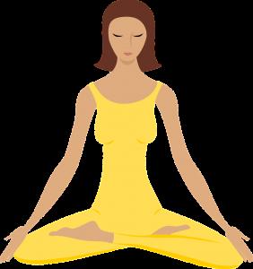 Cartoon of woman dressed in yellow meditating