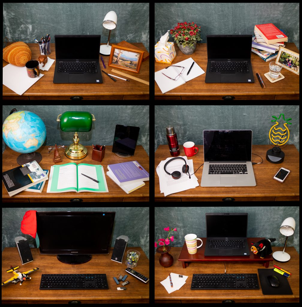 A collage of one table, dcorated six different ways
