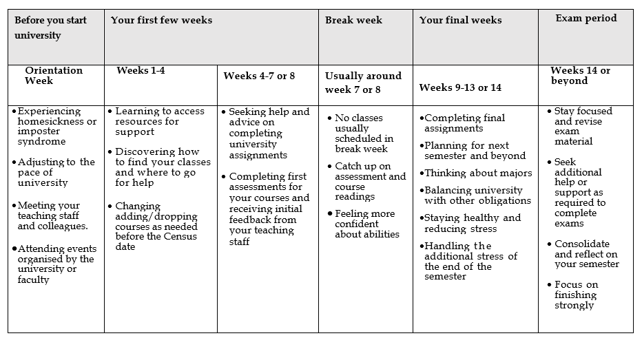 Table 1.2 Example overview of a semester and what you may be doing/experiencing in your first semester.