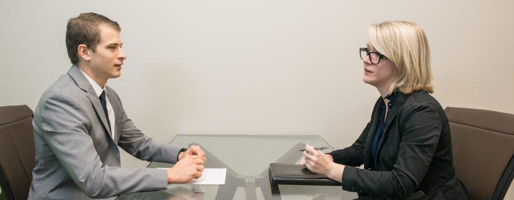 Man and woman at job interview