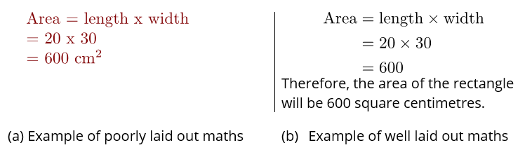Comparison of bad laid out maths and good laid out maths
