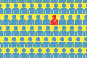 Cartoon image of red man among crowd of blue men