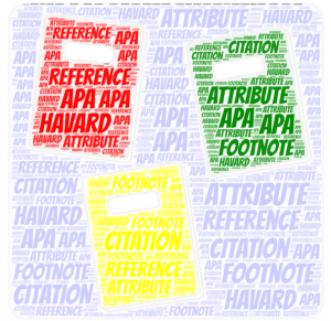 Word art in the shape of books with the words 'reference' 'attribute' 'citation' APA Harvard and footnotes