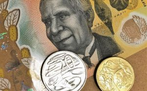 Australian money - $50 note and two coins