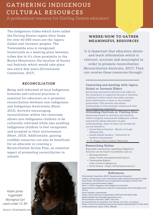 Screenshot of resource with text and image of Aboriginal girl