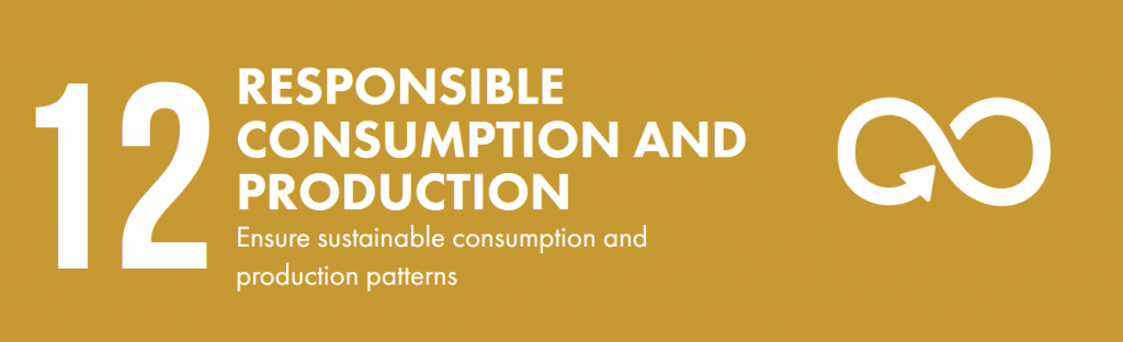 Gold banner that says 12. Responsible consumption and production,