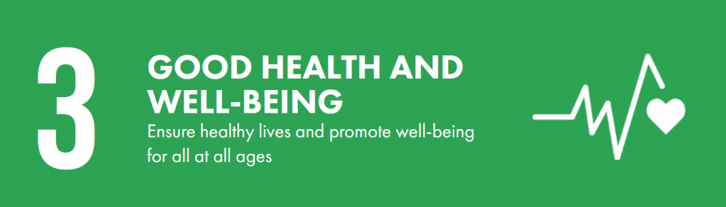 Green banner that says 'Godo health and wellbeing'