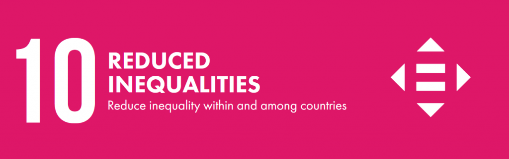 Pink banner that says 10. reduce inequalities