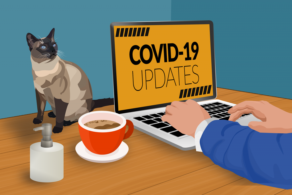 Cartoon of employee weokring from home with coffee and cat on desk and laptopp that says covid updates