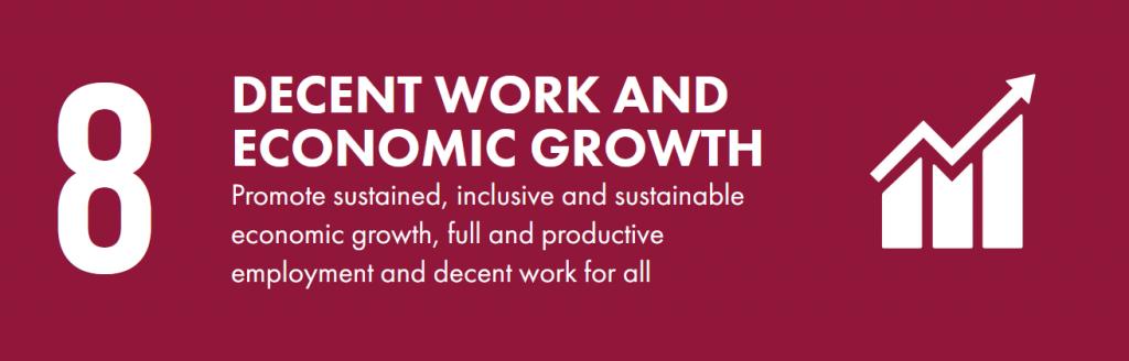 Dark purple banner that says 8. decent work and economic growth