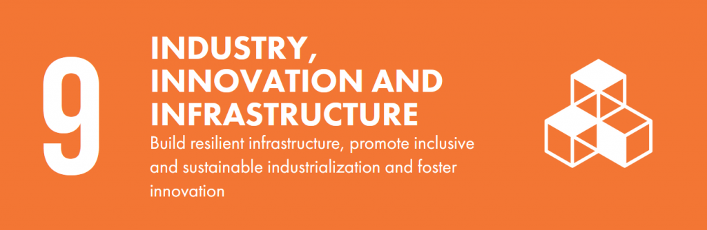 Orange banner that says 9. Industry, innovation and infrastructure