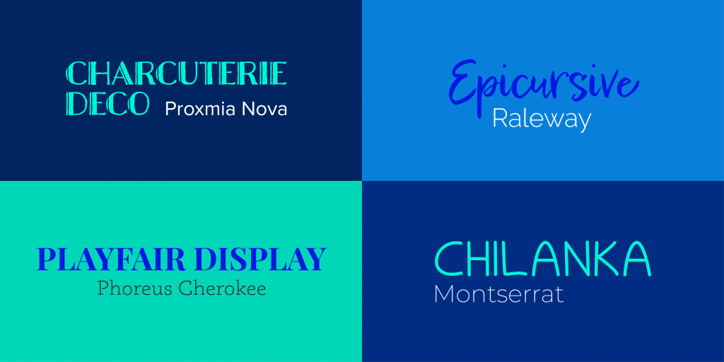 Four grids of different types of font styles