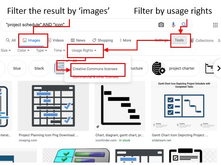 Filtering in Google images