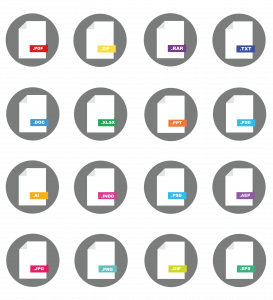 Collection of icons on file tyoes