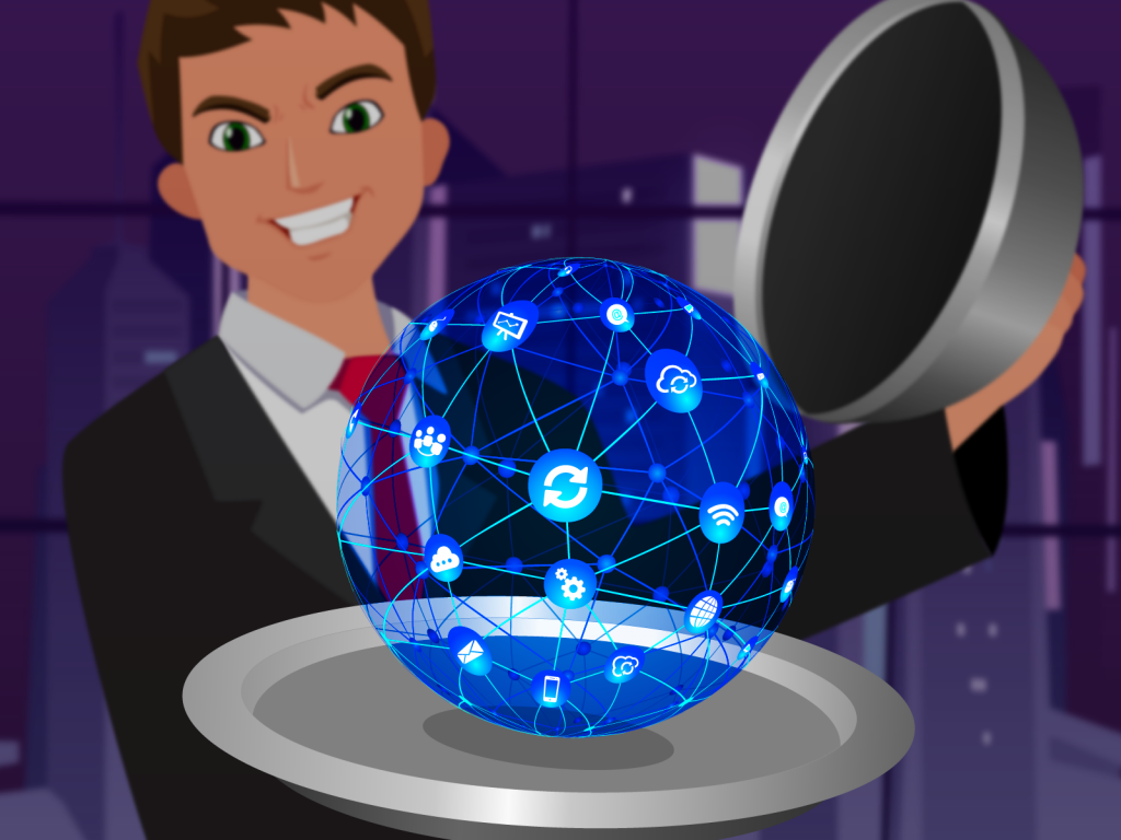 A cartoon man holding a platter with a glowing interconneted ball, of icons such as the cloud icon, wifi icon, email icon, refresh icon.