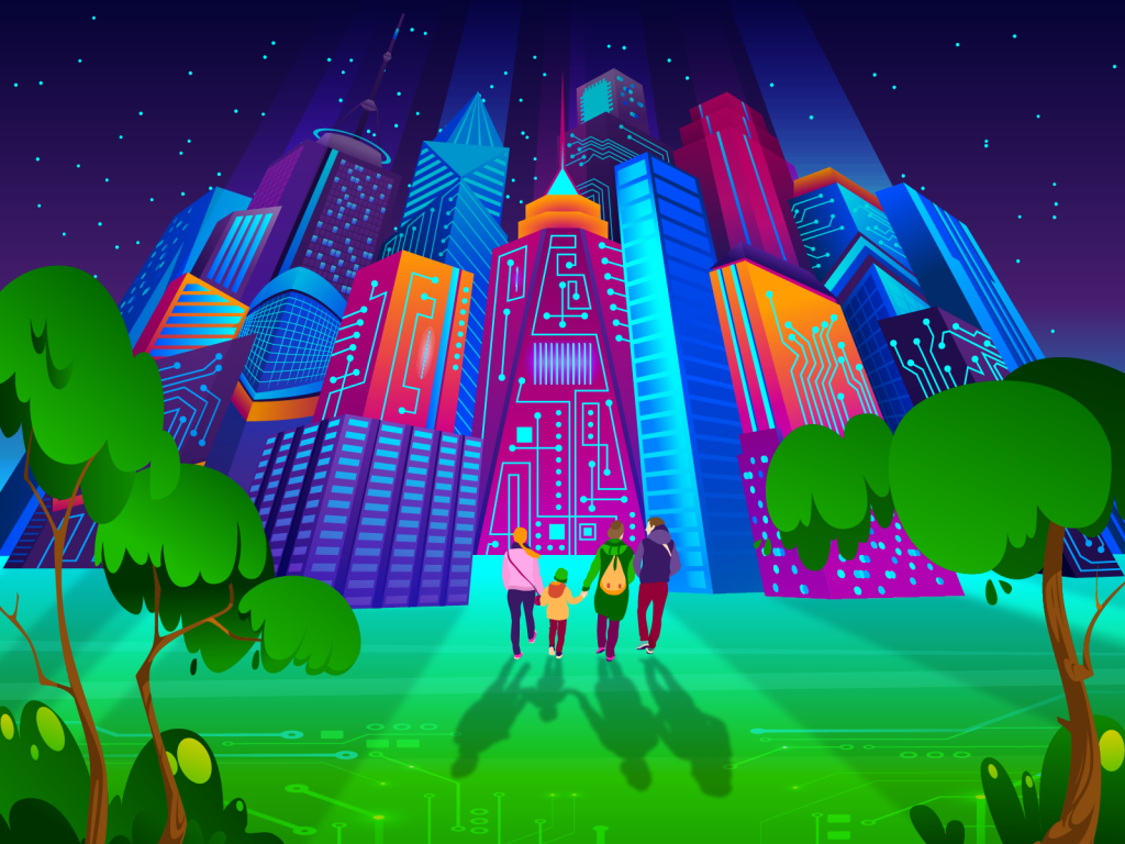 A family of four holding hands and walking into colourful high-rise building decorated with webed electronic paths