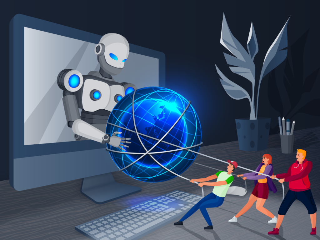 A robot comping out of a computer screen having a tug-a-way with a group of humans over the spherical shape if the world wide web icon, which is wraped in wire
