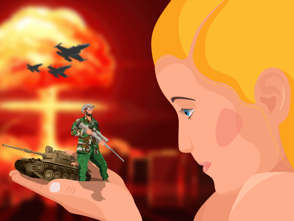 A blonde hair girl holding a little military soldier and war machine. Above her are fighter planes and explosions