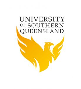 USQ Logo with yellow phoneix