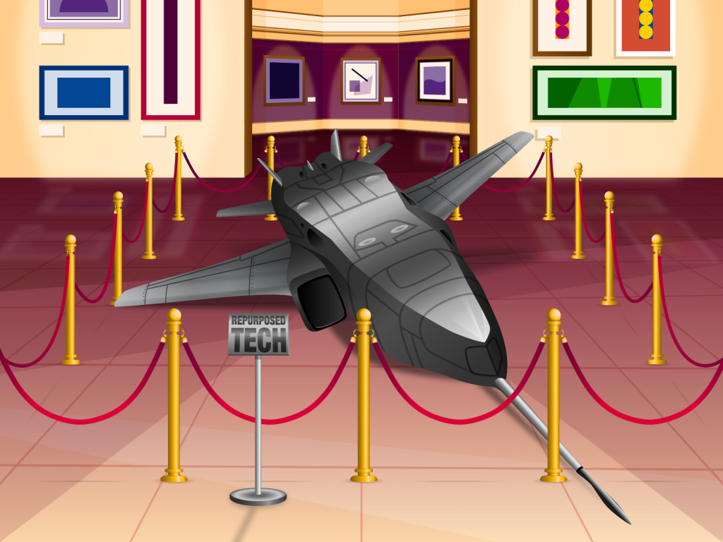 A jet fighter plan os a musuem with a sign saying 'repurposed tech.'