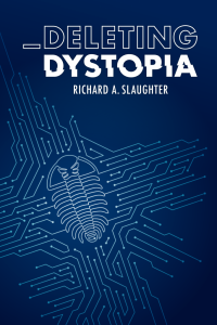 Dark blue cover with white lined connected. The book is called Deletring Dystopia
